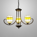 3 Lights Curved Chandelier Tiffany Style Stained Glass Suspension Light in Brown for Kitchen Foyer