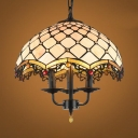 3 Lights Candle Pendant Lamp with Dome Shade Tiffany Style Stained Glass Chandelier for Restaurant