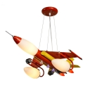 Metal Cartoon Airplane Pendant Light 5 Lights Creative LED Hanging Light in Red for Boy Bedroom
