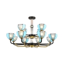 Traditional Blue Suspension Light with Dome Shade 12 Lights 2 Tiers Glass Chandelier for Villa