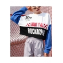 Fancy Color Block I WANT IT ALL ROCKMORE Letter Printed Patched Long Sleeve Pullover Sweatshirt