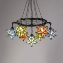 Tiffany Style Vintage Chandelier Star Shade 7 Lights Stained Glass Pendant Light with Wheel for Bar