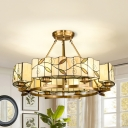 Beige Round Suspension Light 8 Lights Antique Style Glass Chandelier with Leaf for Living Room