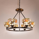 Tiffany Style Flower Dragonfly Chandelier 6 Lights Stained Glass Suspension Light for Restaurant