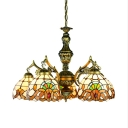 Domed Shade Ceiling Pendant 5 Lights Tiffany Style Victorian Stained Glass Chandelier for Hotel