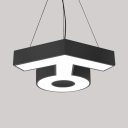 Modern Symbol Shape Chandelier Aluminum Black/White LED Ceiling Lamp with White/Yellow Lighting for Hallway