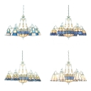 Living Room Cone Dome Chandelier Glass 9 Lights Mediterranean Style Blue Hanging Light