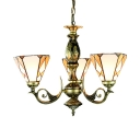 Tiffany Style Rustic Chandelier Cone Shade 3 Lights Stained Glass Engraved Hanging Lamp for Bathroom