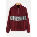 New Stylish Burgundy Zipper Front Stand Collar Long Sleeve Sequined Sweatshirt