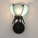Art Glass Petal Wall Light 1 Light Tiffany Style Rustic Sconce Light for Stair Hallway