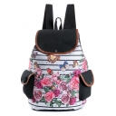 Designer Unique Floral Butterfly Stripe Pattern Black and White School Backpack with Side Pockets 28*11*39 CM