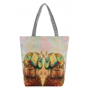 Personalized Floral Elephant Printed Gray Canvas Shoulder Bag 27*8*37 CM