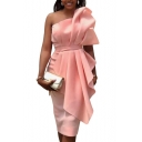 Womens Summer Simple Plain Stylish Strapless Crinkled Ruffled Embellished Pink Midi Sheath Dress Evening Dress