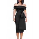 Women Sexy Off the Shoulder Simple Solid Color Peplum Midi Sheath Dress