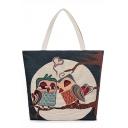 Designer Unique Owl Pattern Beige Canvas Shoulder Tote Bag 35*10*38 CM