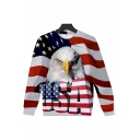 New Fashion USA Letter American Flag Eagle 3D Print Round Neck Long Sleeve Loose Fit Pullover Sweatshirt