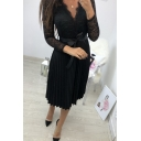 Womens Trendy V Neck Long Sleeve Black Lace Patch Bow Tie Midi Pleated Dress