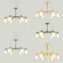 Wood Glass Cylinder Pendant Light 6 Lights Modern Chandelier with Macaron Color for Restaurant