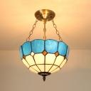 Mediterranean Style Domed Pendant Light Art Glass Chandelier in Blue for Bedroom Hallway