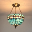 Blue Peacock Tail Chandelier Tiffany Style Stained Glass Suspension Light for Dining Room Foyer