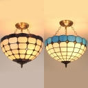 Tiffany Style Domed Chandelier Metal Glass Pendant Lamp in Blue/Brown for Hotel Study Room