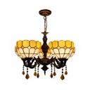 Tiffany Style Yellow Chandelier Bowl Shade 5 Lights Glass Suspension Light with Crystal for Foyer