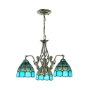 Study Room Dome Pendant Light with Mermaid Glass 3 Lights Mediterranean Style Chandelier