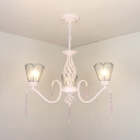 Glass Cone Shade Chandelier with Clear Crystal Bedroom 3 Lights Traditional Pendant Lamp in White