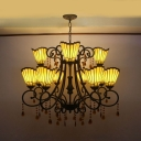 Cone Shade Hotel Chandelier with Crystal Glass Metal Tiffany Style Vintage Hanging Lamp