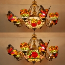 Living Room Flower Chandelier with Butterfly Stained Glass 9 Lights Rustic Style Ceiling Pendant