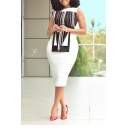 White Round Neck Sleeveless Striped Patchwork Midi Bodycon Dress