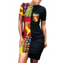 Women's Fashion Totem Tribal Printed Colorblock Round Neck Short Sleeve Mini Asymmetric Bodycon Dress