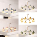 Wood Cone Chandelier 8 Lights Contemporary Suspension Light with Macaron Color for Living Room