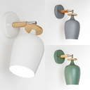 Kitchen Cup Rotatable Wall Sconce Metal 1 Light Simple Style Macaron White/Green/Gray Wall Light