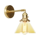 1/2 Pack Cone Shade Wall Light 1 Light Industrial Amber Glass Sconce Light for Bathroom