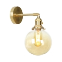 Vintage Style Globe Wall Light 1/2 Pack 1 Light Amer Glass Sconce Light in Brass for Kitchen
