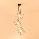 Living Room Square Cage Pendant Lamp Metal 3 Lights Industrial Black Hanging Light