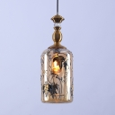 Traditional Hanging Light Cylinder Shade 1 Light Glass Ceiling Light with Leaf Decoration for Kitchen
