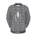 New Trendy Cool Spider Quantum Battle Suit Rib Collar Long Sleeve Button Down White Baseball Jacket