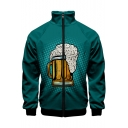 Men New Trendy 3D Beer Printed Long Sleeve Stand Collar Zip Up Jacket