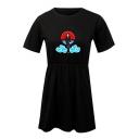 Popular Comic Character Cloud Printed Round Neck Short Sleeve Mini A-Line T-Shirt Dress