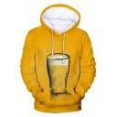 Cool Unique 3D Beer Printed Long Sleeve Pullover Yellow Hoodie