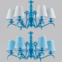 Traditional Blue/White Hanging Lamp with Tapered Shade 6 Lights Metal Chandelier for Dining Room