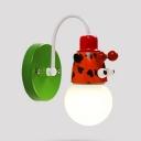 1 Light Giraffe Wall Sconce 1/2 Pack Lovely Metal Sconce Light in Red for Child Bedroom Bathroom