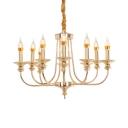Elegant Style Gold Chandelier Candle Shape 10 Lights Metal Hanging Light for Foyer Hotel