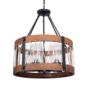Living Room Drum Shade Chandelier Wood Metal 5 Lights Country Style Brown Hanging Lamp