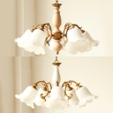 Flower Shade Hanging Light 5 Lights Rustic Style Frosted Glass Chandelier Light for Dining Room
