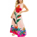 Women's Fashion Sexy Round Neck Sleeveless Floral Printed Maxi Tank Pink Dress