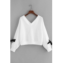 Simple Solid Color V Neck Long Sleeve Bow Tie Pullover Sweatshirt