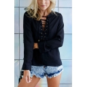 Black Lace Up Hollow Out V Neck Button Side Patched Long Sleeve Plain Chiffon Blouse